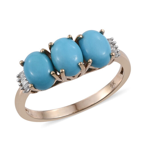 9K Yellow Gold Arizona Sleeping Beauty Turquoise (Ovl), Diamond Ring 2.500 Ct.