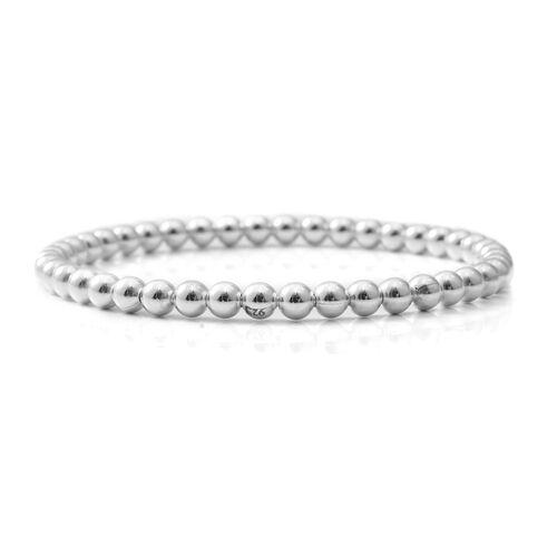 Designer Inspired-Sterling Silver Bead Bangle (Size 7.75), Silver wt 15.39 Gms.