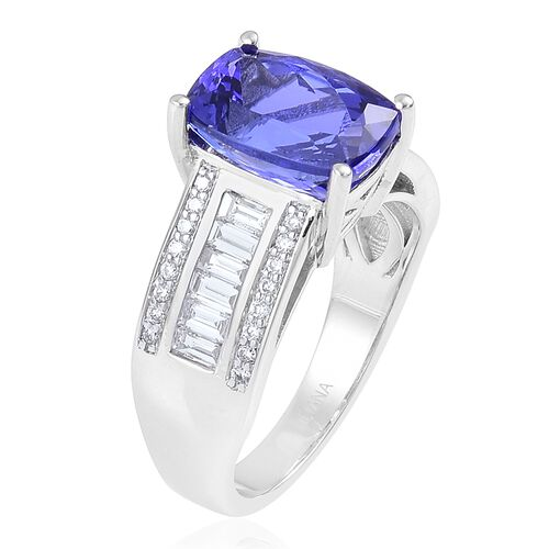 ILIANA 18K W Gold AAA Tanzanite (Cush 4.75 Ct), Diamond (SI/G-H) Ring 5.500 Ct.