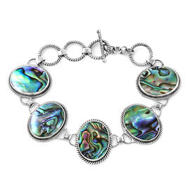 Royal Bali Collection Abalone Shell Bracelet in Silver 18.42 Grams 6.75, 7.25 Inch