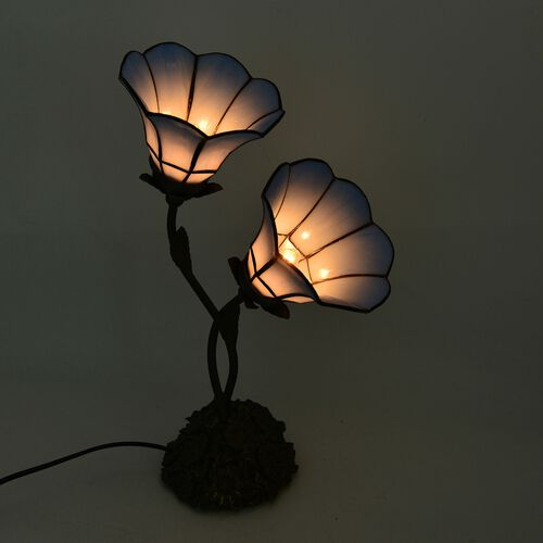 Luxury Edition - Tiffany Style Table Lamp with 2 Sky Blue Petunias Stained Glass Shades