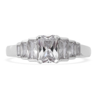 ELANZA Simulated Diamond Ring (Size O) in Rhodium Overlay Sterling Silver