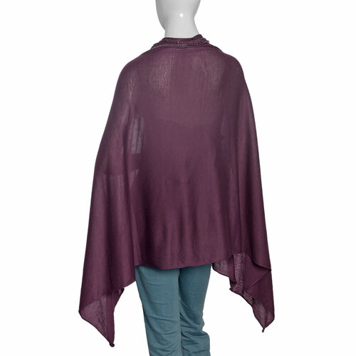 Designer Inspired- Purple Colour Kaftan with Swarovski Crystal Embellished (Size 151.13x69.85 Cm)