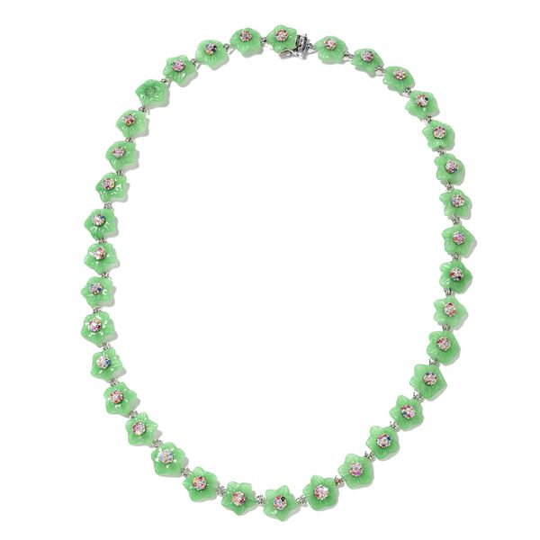 Carved Green Jade and Multi Sapphire Floral Necklace (Size 18) in Rhodium Overlay Sterling Silver 11