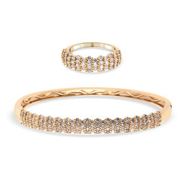 2 Piece Set -  Simulated Diamond Ring and Bangle (Size 6.5) in Yellow Gold Tone