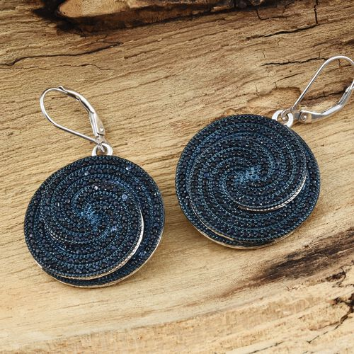Kanchanaburi Blue Sapphire (Rnd) Spiral Lever Back Earrings in Blue and Platinum Overlay Sterling Silver 5.500 Ct. Silver wt. 12.00 Gms. Number of Gemstone 376.