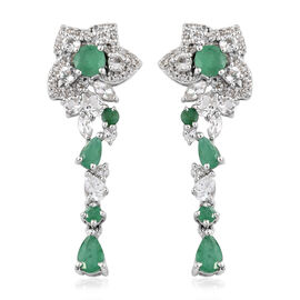Kagem Zambian Emerald (Rnd and Pear), White Topaz Earrings (with Push Back) in Platinum Overlay Ster