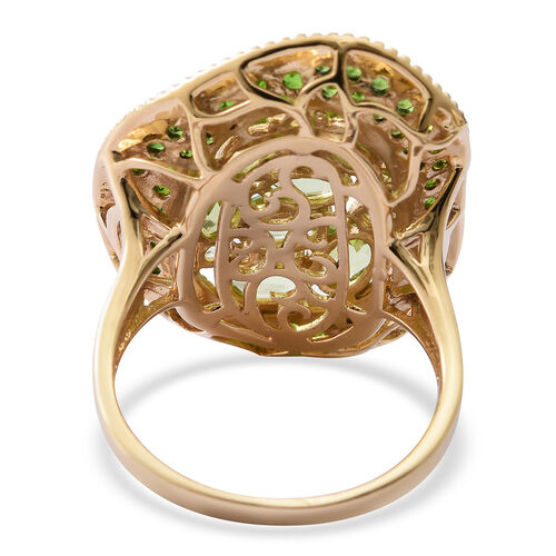 Designer Inspired- Hebei Peridot (Ovl and Rnd), Russian Diopside Ring in Yellow Gold Overlay Sterling Silver 4.260 Ct