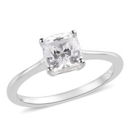 J Francis - Sterling Silver (Cush) Solitaire Ring Made with SWAROVSKI ZIRCONIA 1.50 Ct.