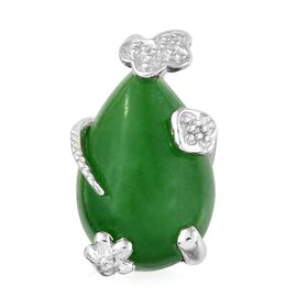 Green Jade (Pear), Natural Cambodian Zircon Pendant in Platinum Overlay Sterling Silver 6.750 Ct.