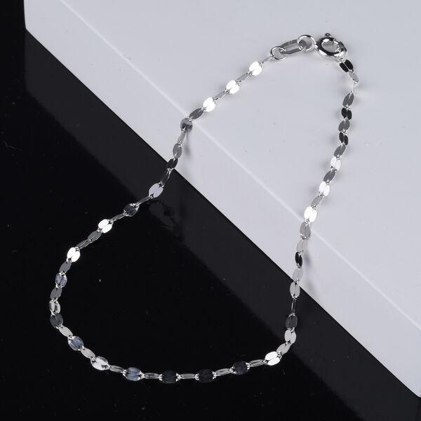 9K White Gold Forzatina Bracelet (Size 7.25) with Spring Clasp