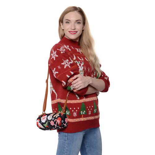 Christmas Theme Print Crossbody Bag - Black