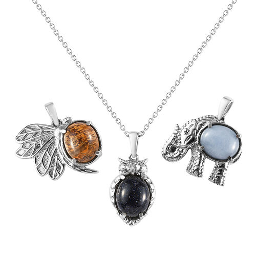 3 Piece Set - Blue Sandstone, Mexican Angelite and Script Stone Pendant with Chain (Size 20) in Stai