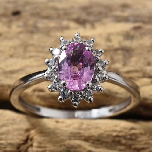 9K White Gold AAA Pink Sapphire (Ovl), Natural Cambodian Zircon Halo Ring 1.100 Ct.