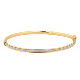 NY Close Out Deal- Simulated Diamond Bangle (Size 7.5) in Gold Overlay Sterling Silver