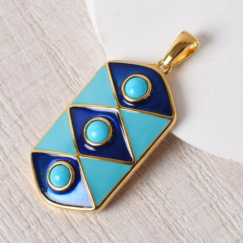 Arizona Sleeping Beauty Turquoise Enamelled Gladiator Pendant in 14K Gold Overlay Sterling Silver 1.150  Ct, Silver wt 7.90 Gms