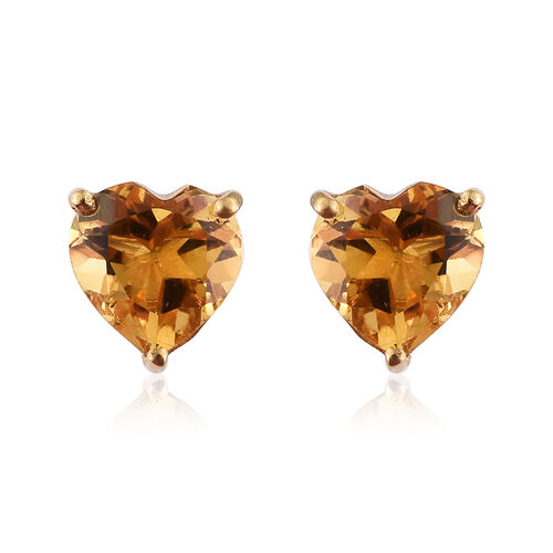 Citrine (Hrt) Stud Earrings (with Push Back)  in 14K Yellow Gold Overlay  Sterling Silver  2.250  Ct.