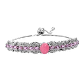 7.5 Ct Pink Jade and Simulated Pink Diamond Adjustable Bolo Bracelet in Silver Tone