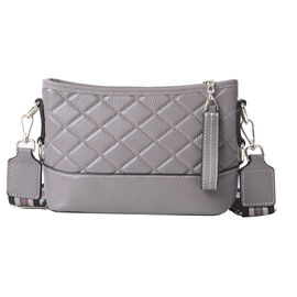 lifestyle-Color:Grey; size/Profile:Crossbody bag;wall(exterior);Genuine Leather. Lining(interior):po