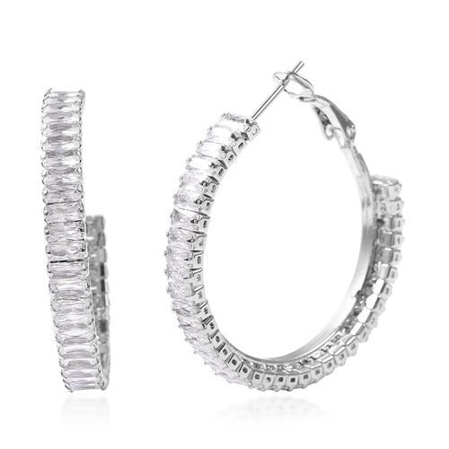2 Piece Set - Simulated Diamond Adjustable Bolo Bracelet (Size 6-9) and Earrings (with Clasp) in Silver Tone