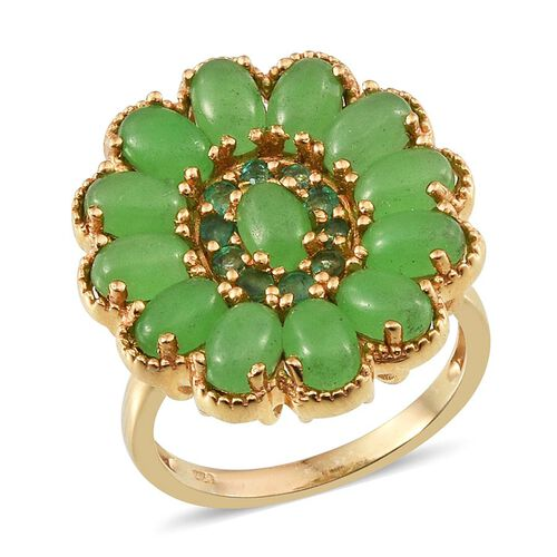 Green Jade (Ovl), Kagem Zambian Emerald Floral Ring in 14K Gold Overlay Sterling Silver 8.000 Ct.