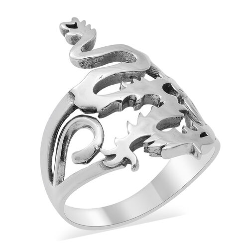 Dragon Ring in Platinum Plated Silver 5.39 Grams