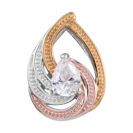 J Francis Platinum, Yellow and Rose Gold Overlay Sterling Silver Pendant Made with Swarovski Zirconi