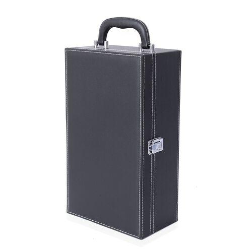 Rectangle Shape Wine Box with 4 Pcs Bottle Opener (Wine Corkscrew,Foil Cutter,Wine Pourer and Drip Ring) (Size 35x20x12 Cm) - Black