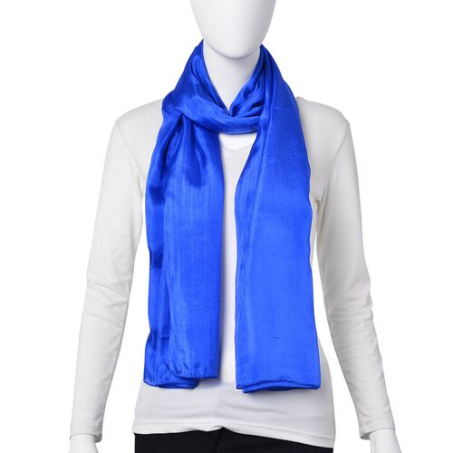 100% Mulberry Silk Pantone Colour Lapis Blue Scarf (Size 180X100 Cm)