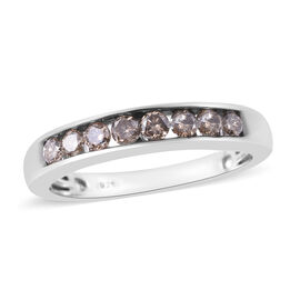 0.50 Ct Natural Champagne Diamond Half Eternity Band Ring in Platinum Plated Silver