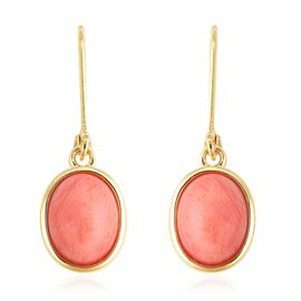 Living Coral (Ovl) Lever Back Earrings in Yellow Gold Overlay Sterling Silver  5.50 Ct.