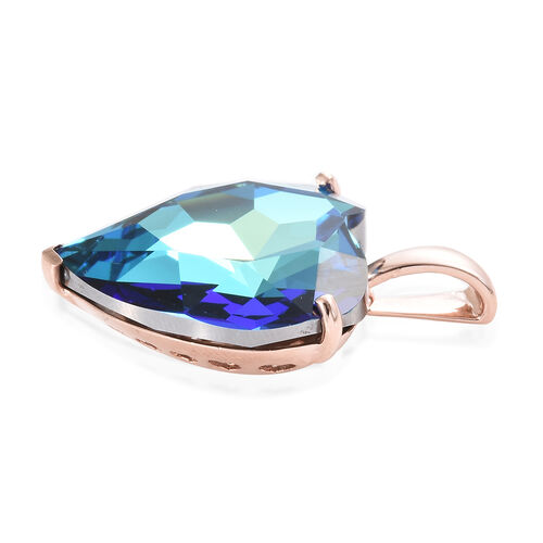 J Francis - Crystal from Swarovski - Swarovski Bermuda Blue Crystal (Hrt 28 mm) Pendant in Rose Gold Overlay Sterling Silver