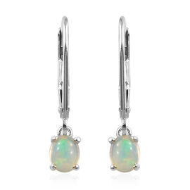 Ethiopian Welo Opal (Ovl) Lever Back Earrings in Platinum Overlay Sterling Silver