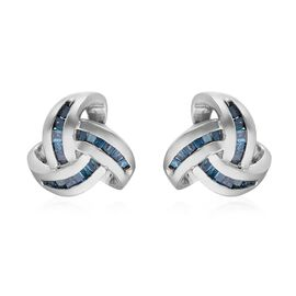 0.25 Ct Blue Diamond Triple Knot Stud Earrings in Platinum Plated Silver