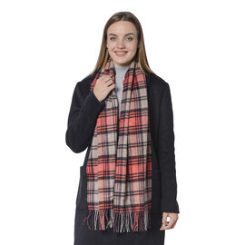 Plaid Pattern Wool Scarf with Fringes (Size170x30 Cm) - Grey and Red