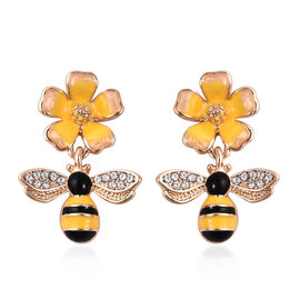 White Austrian Crystal (Rnd) Enamelled Bee and Flower Earrings (with Push Back)