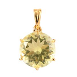 Green Gold Quartz Solitaire Pendant in 14K Gold Overlay Sterling Silver 1.000 Ct.