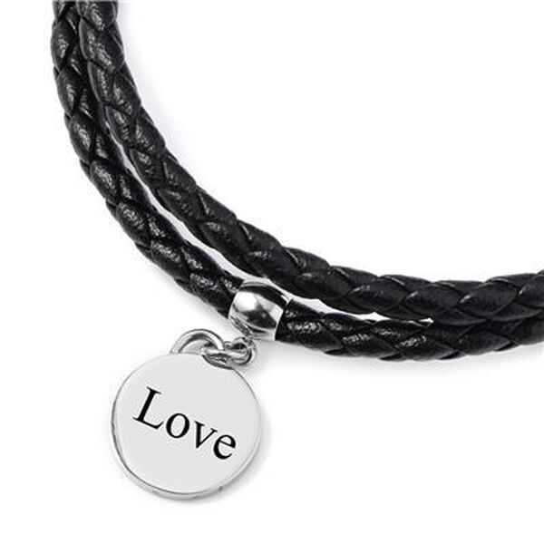 Personalised Engravable Double Braided Black Leather Disc Charm Bracelet, Size 8 Inch