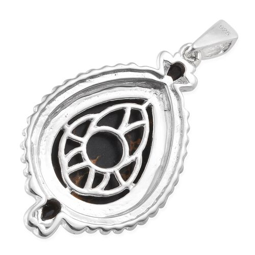 Arizona Mojave Black Turquoise (Pear 9.00 Ct), Boi Ploi Black Spinel Pendant in Sterling Silver 9.500 Ct. Silver wt. 4.00 Gms.