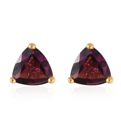 Purple Garnet (Trl) Stud Earrings (with Push Back) in 14K Gold Overlay Sterling Silver 1.500 Ct.