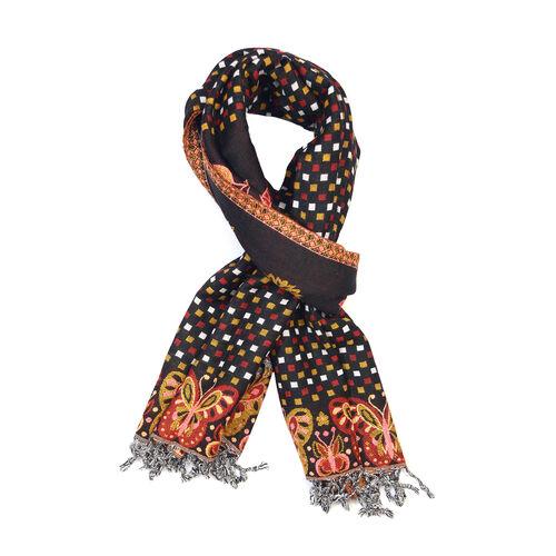 Jacquard Pattern Black Scarf (Size 200x70 Cm)