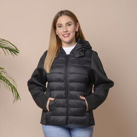 Winter Puffer Jacket with Hoodie in Classic Black