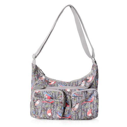 Water Resistant Birds Pattern Crossbody Bag with External Zipper Pockets and Adjustable Shoulder Str