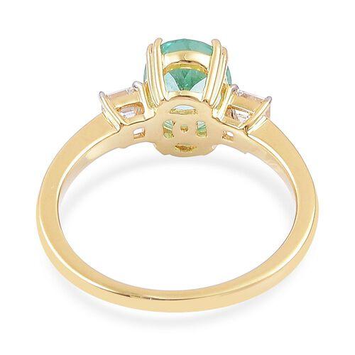 ILIANA 18K Yellow Gold AAA Boyaca Colombian Emerald (Ovl 1.35 Ct), Diamond (SI/G-H) Ring 1.720 Ct.Size O