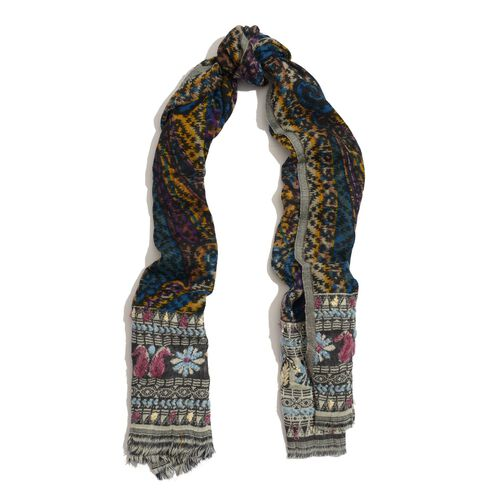 100% Wool Paisley and Floral Pattern Pink, Black and Multi Colour Thick and Fluffy Scarf (Size 180x65 Cm)