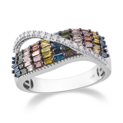 1 Carat Rainbow Diamond Cross Over Ring in Platinum Plated Sterling Silver 5.5 Grams