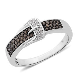 0.33 Ct Champagne Diamond and White Diamond Buckle Ring in Platinum Plated Silver