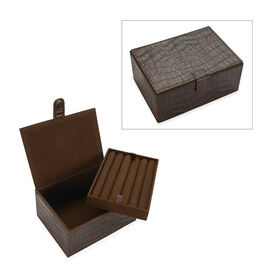 2-Tier Croc Embossed Leather Jewellery Storage Box with Magnetic Flap (Size 18x13x9 Cm) - Dark Brown