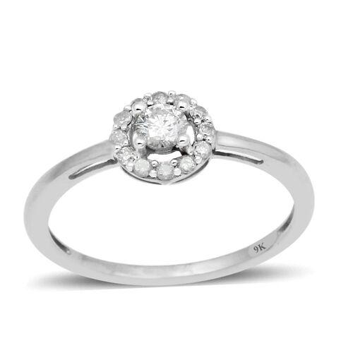 9K White Gold SGL Certified Diamond (Rnd) (I3/G-H) Ring 0.330 Ct.