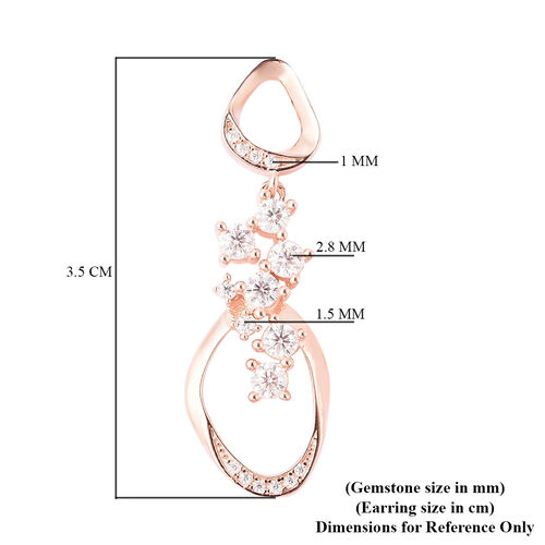 LucyQ Fluid Collection - White Moissanite Dangle Earrings (with Push Back) in Rose Gold Overlay Sterling Silver